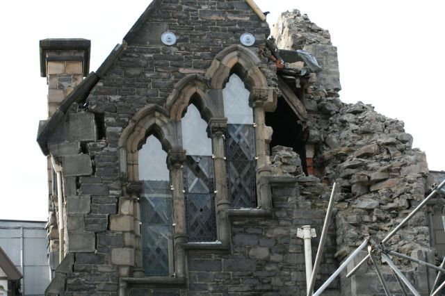 This damaged church building was one of countless historical buildings that were severely damaged in the earthquake in 2011. Photograph courtesy of Warren and Kerry Goddard.